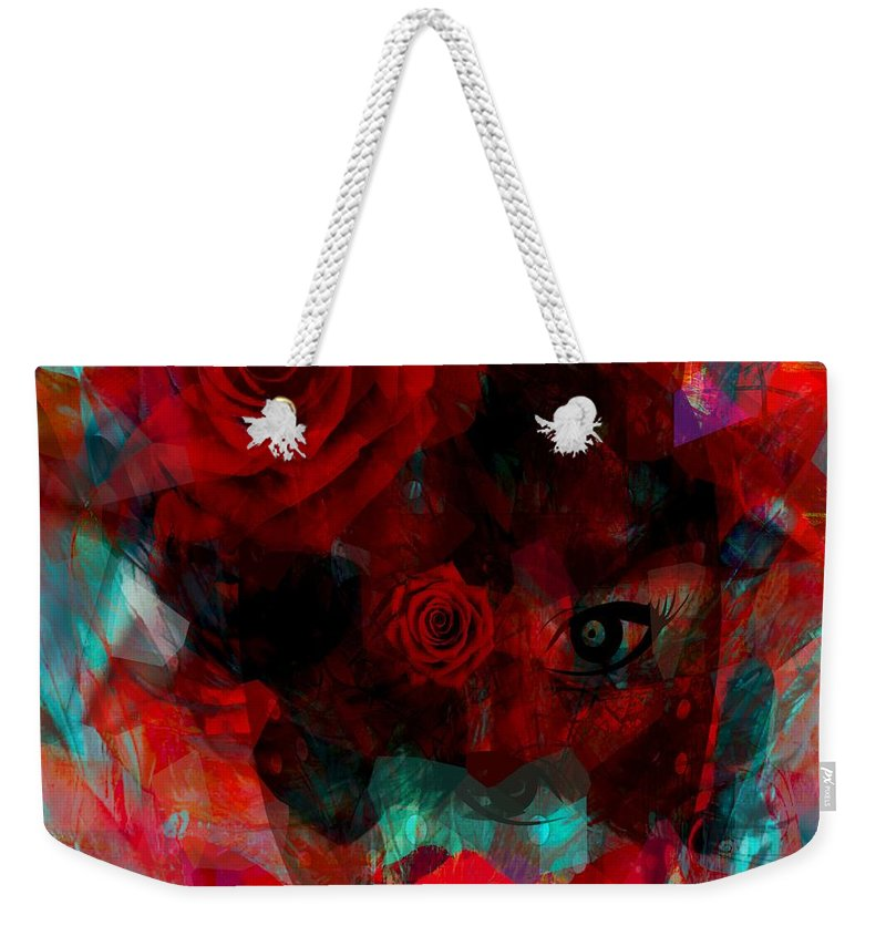Fanou Weekender Tote Bag featuring the digital art I Named You Rose by Fania Simon