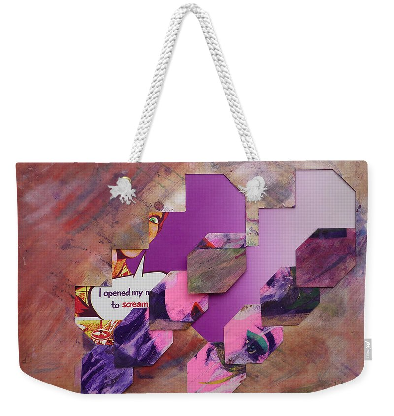 Psycho Weekender Tote Bag featuring the mixed media I Opened My Mouth To Scream by Charles Stuart