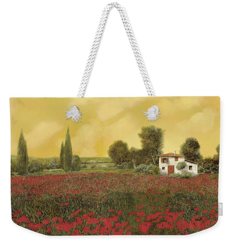 Summer Weekender Tote Bag featuring the painting I Papaveri E La Calda Estate by Guido Borelli