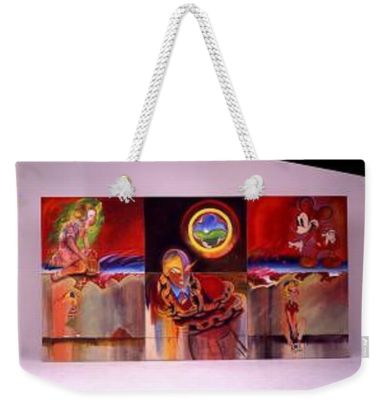 Spiderman Weekender Tote Bag featuring the painting I Saw The Figure Five In Gold by Charles Stuart