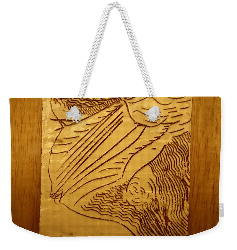 Jesus Weekender Tote Bag featuring the ceramic art I See - Tile by Gloria Ssali