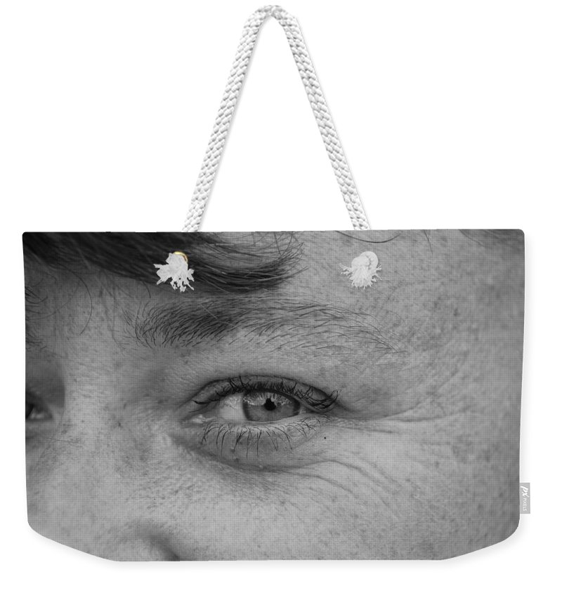 Black And White Weekender Tote Bag featuring the photograph I See You by Rob Hans