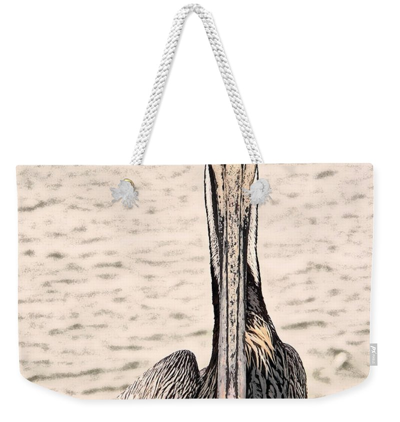 Brown Pelican Weekender Tote Bag featuring the photograph I See You Too by Steven Sparks