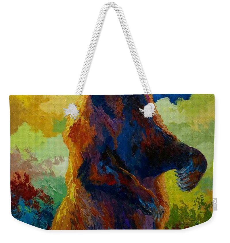 Bear Weekender Tote Bag featuring the painting I Spy - Grizzly Bear by Marion Rose