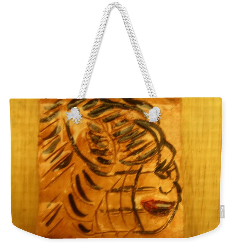 Jesus Weekender Tote Bag featuring the ceramic art I Spy - Tile by Gloria Ssali