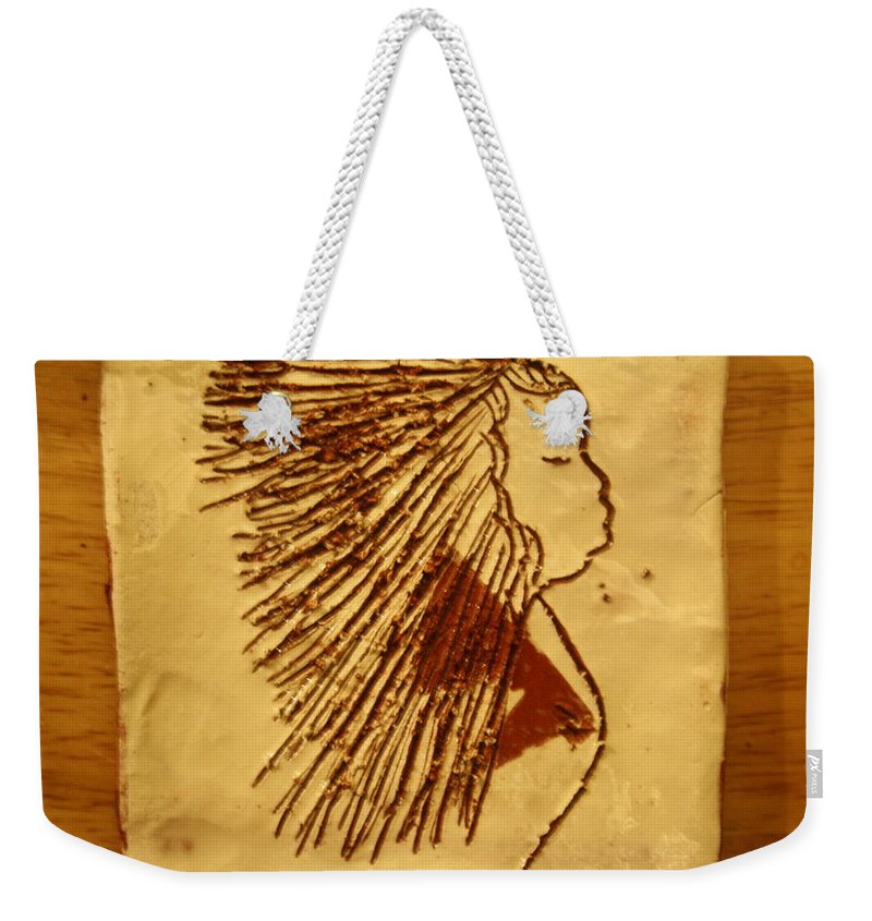Jesus Weekender Tote Bag featuring the ceramic art I Surrender All - Tile by Gloria Ssali