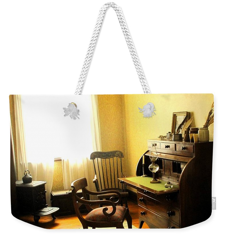 Antique Weekender Tote Bag featuring the photograph I Will Be Right Back by Ian MacDonald