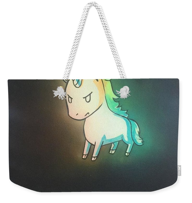 Weekender Tote Bag featuring the painting I Will Cut You by Joey Victorino