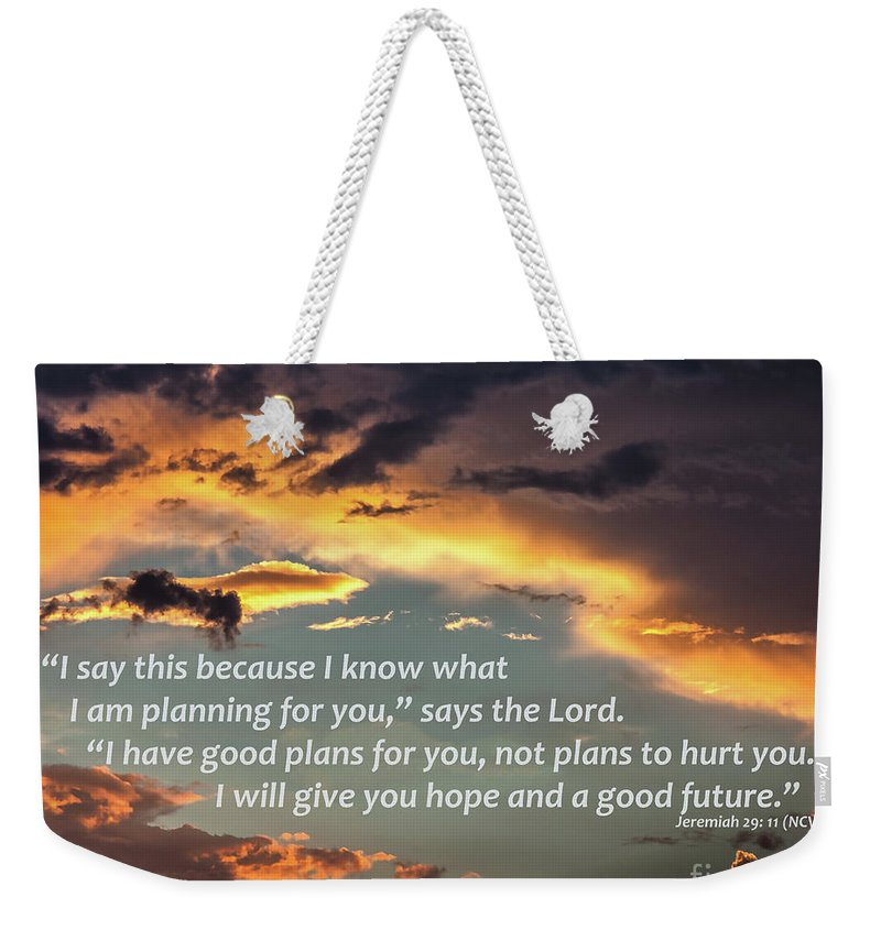 Sky Weekender Tote Bag featuring the digital art I Will Give You Hope by Kirt Tisdale