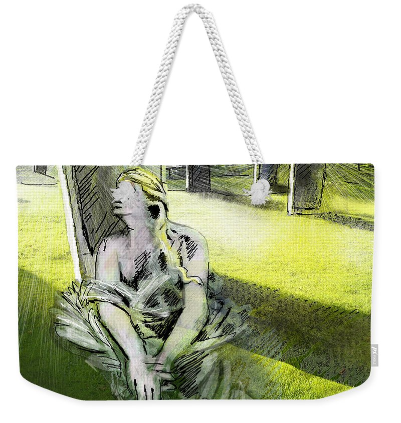 Painting All Saints Day Graves Flowers Weekender Tote Bag featuring the painting I Wish You Were Here by Miki De Goodaboom