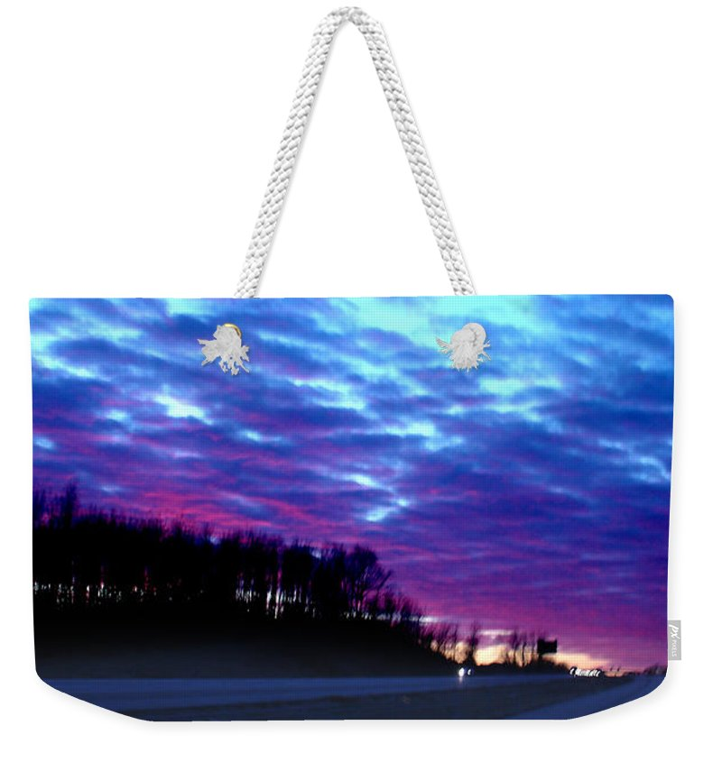 Landscape Weekender Tote Bag featuring the photograph I70 West Ohio by Steve Karol