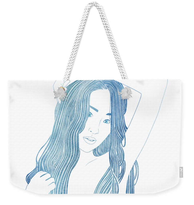 Aqua Weekender Tote Bag featuring the mixed media Ianeria by Stevyn Llewellyn