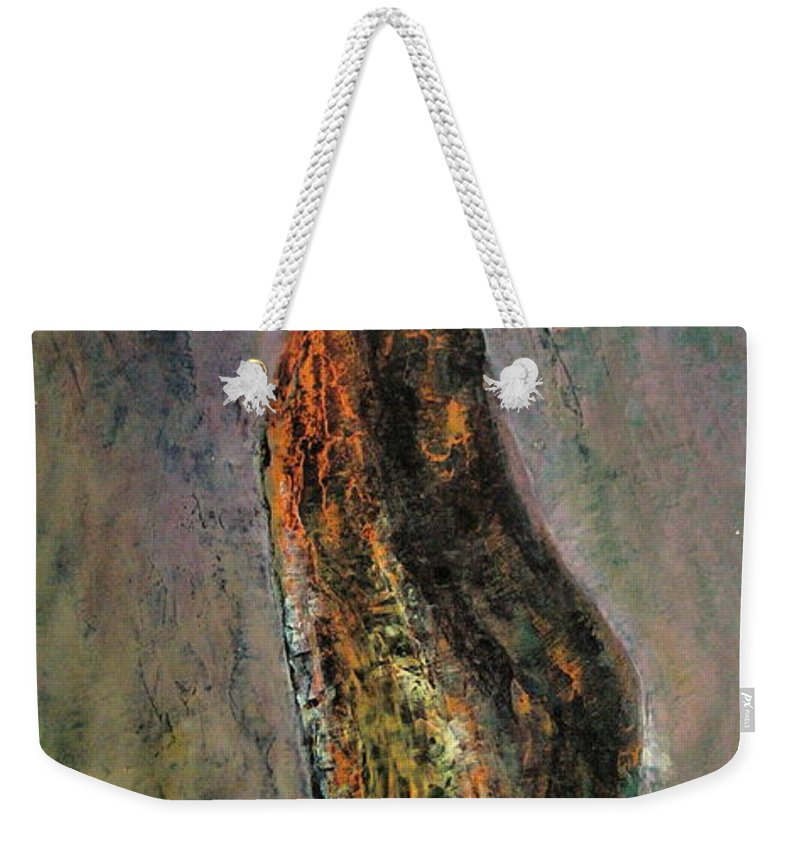 Jamon Weekender Tote Bag featuring the painting Iberico de bellota by Tomas Castano