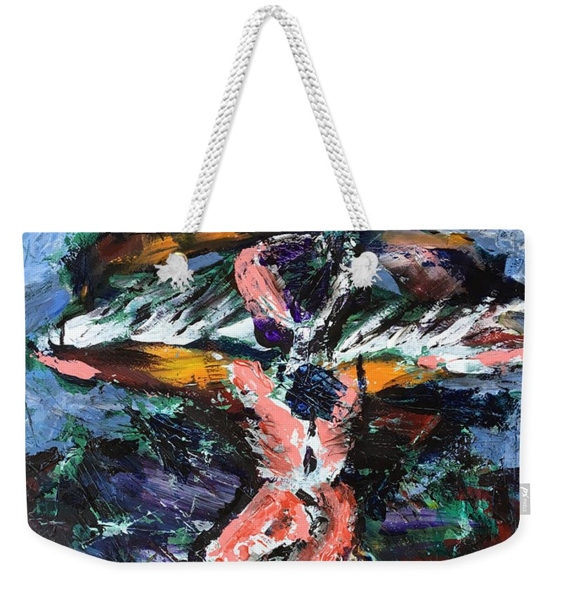 Icarus Weekender Tote Bag featuring the painting Icarus by Uwe Hoche