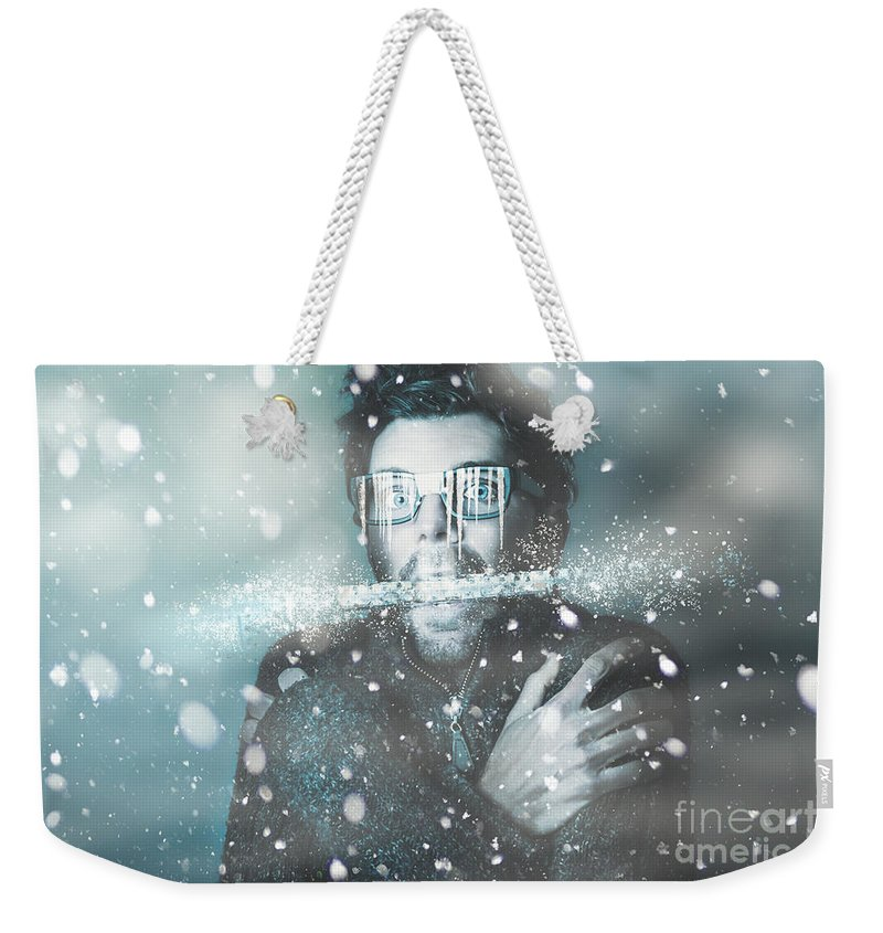 Cold Weekender Tote Bag featuring the photograph Ice Cold Winter Man In A Freeze Of Snow And Frost by Jorgo Photography - Wall Art Gallery