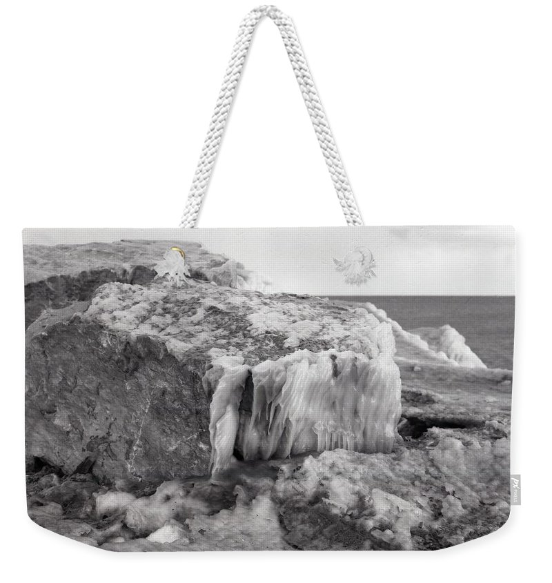 Abstract Weekender Tote Bag featuring the photograph Ice Covered Rocks by Lyle Crump