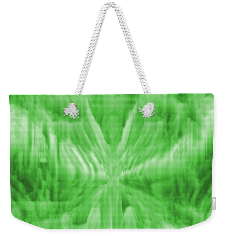 Ice Crystal Angel Weekender Tote Bag featuring the digital art Ice Crystal Angel - Green by Artistic Mystic