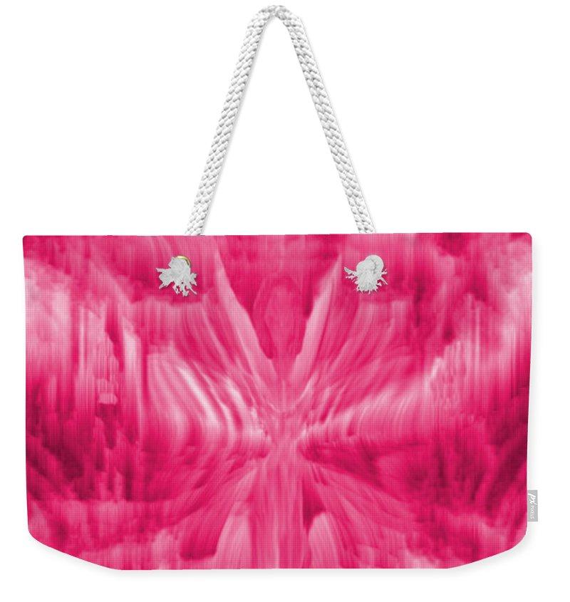 Ice Crystal Angel Weekender Tote Bag featuring the digital art Ice Crystal Angel - Pink by Artistic Mystic