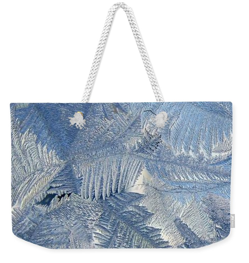 Ice Weekender Tote Bag featuring the photograph Ice Crystals by Rhonda Barrett
