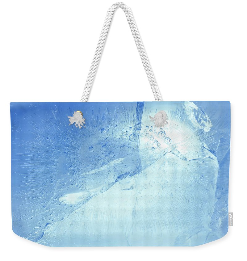Ice Background Weekender Tote Bag featuring the photograph Ice Detail by Les Cunliffe