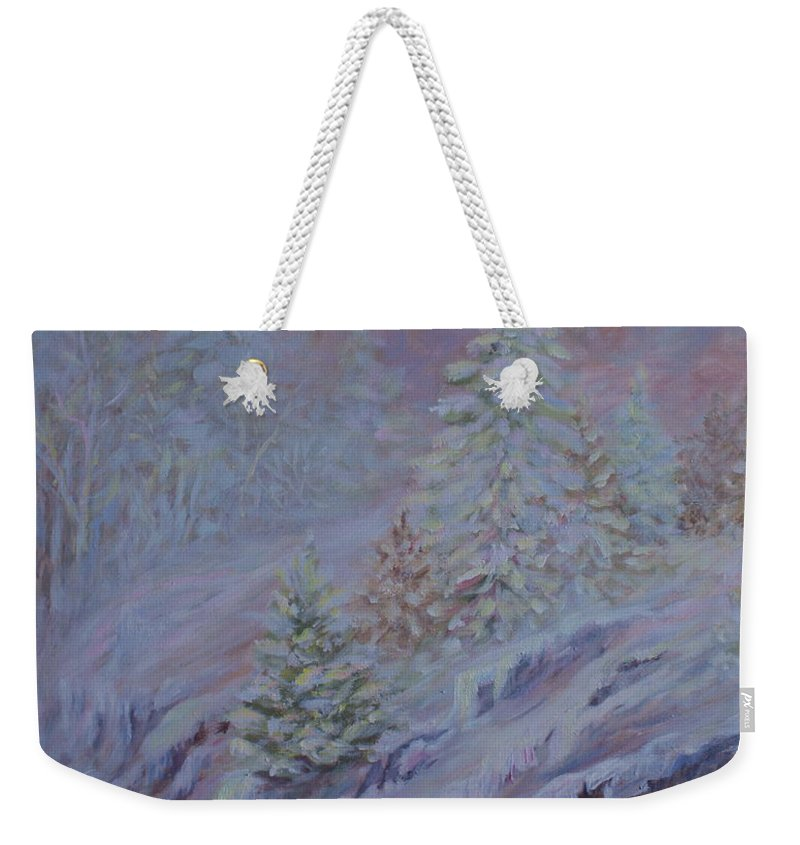 Ice Fog In Northern Landscape Weekender Tote Bag featuring the painting Ice Fog In The Forest by Joanne Smoley
