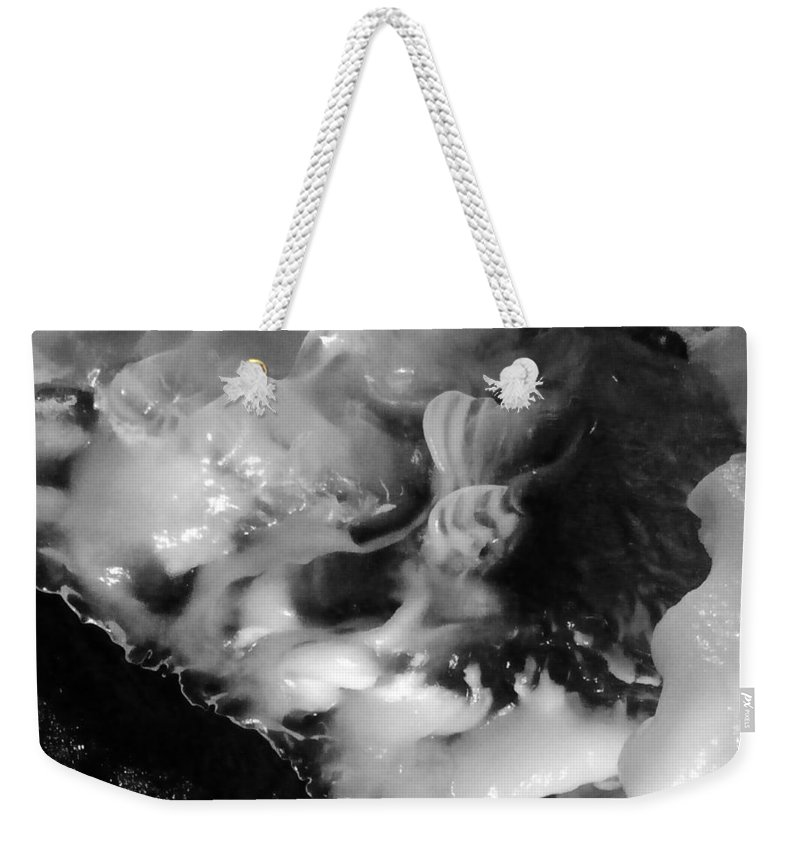 Ice In Bolton Notch Cave Connecticut Weekender Tote Bag featuring the photograph Ice In Cave by Wolfgang Schweizer