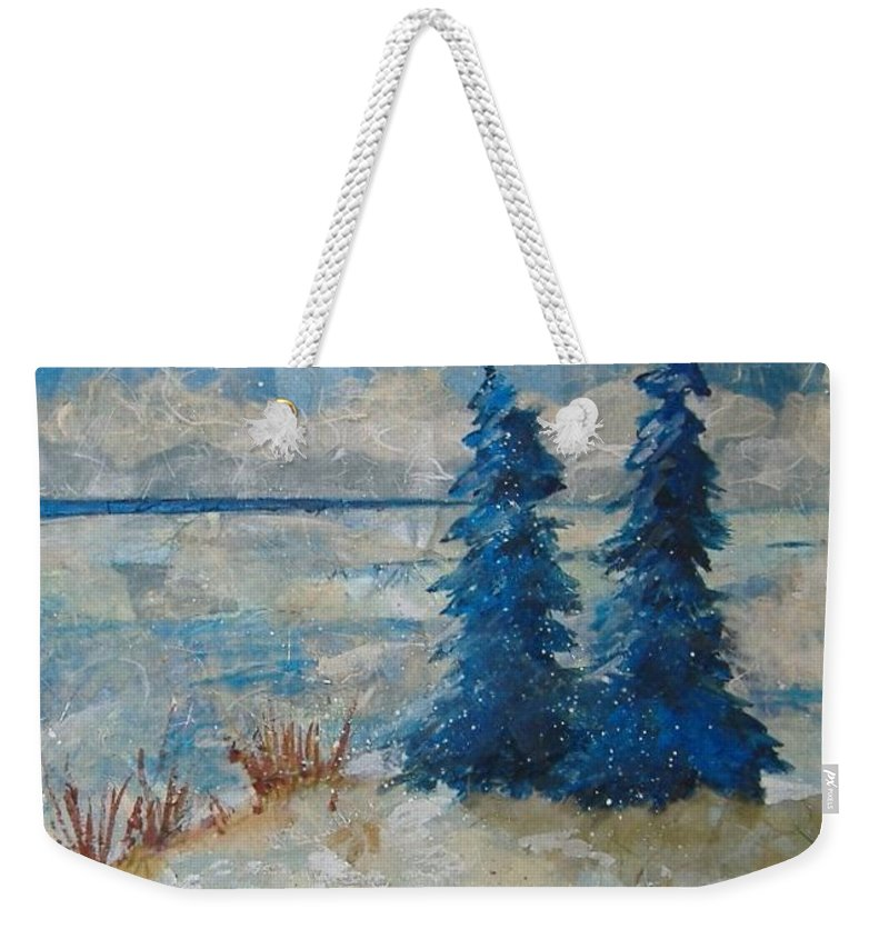 Landscape Weekender Tote Bag featuring the mixed media Ice On Lake Erie by Pat Snook