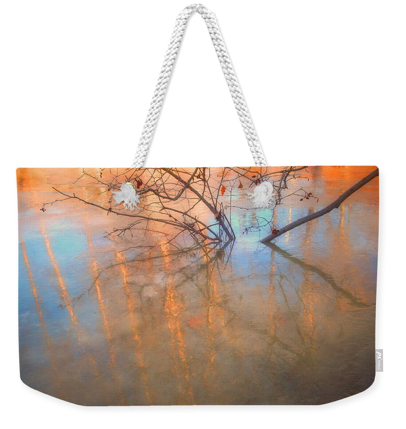 Ice Weekender Tote Bag featuring the photograph Ice Reflections 2 by Tara Turner