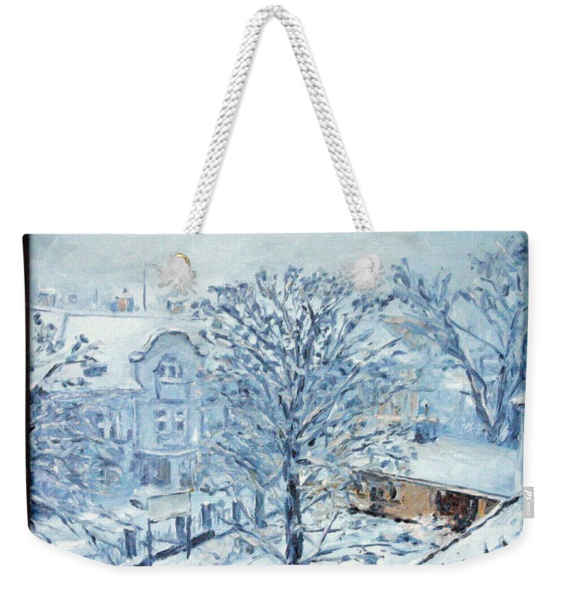 Landscape Weekender Tote Bag featuring the painting Ice White by Pablo de Choros