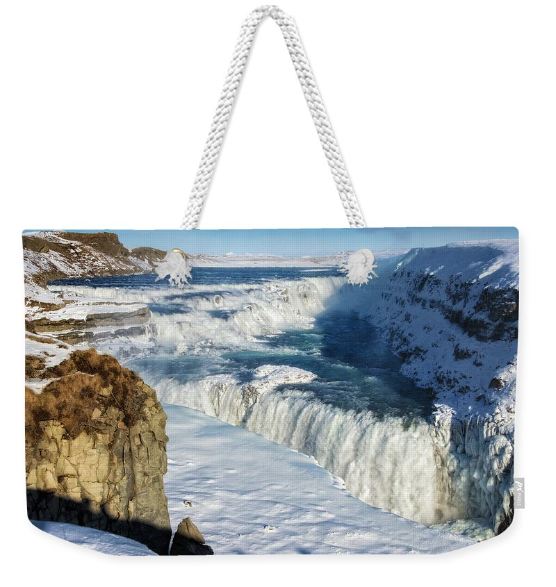 Gullfoss Weekender Tote Bag featuring the photograph Iceland Gullfoss Waterfall In Winter With Snow by Matthias Hauser