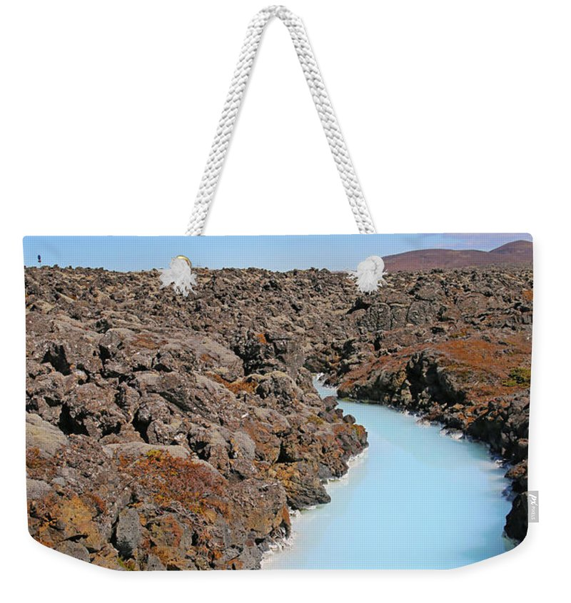 Iceland Weekender Tote Bag featuring the photograph Iceland Tranquil Blue Lagoon by Betsy Knapp