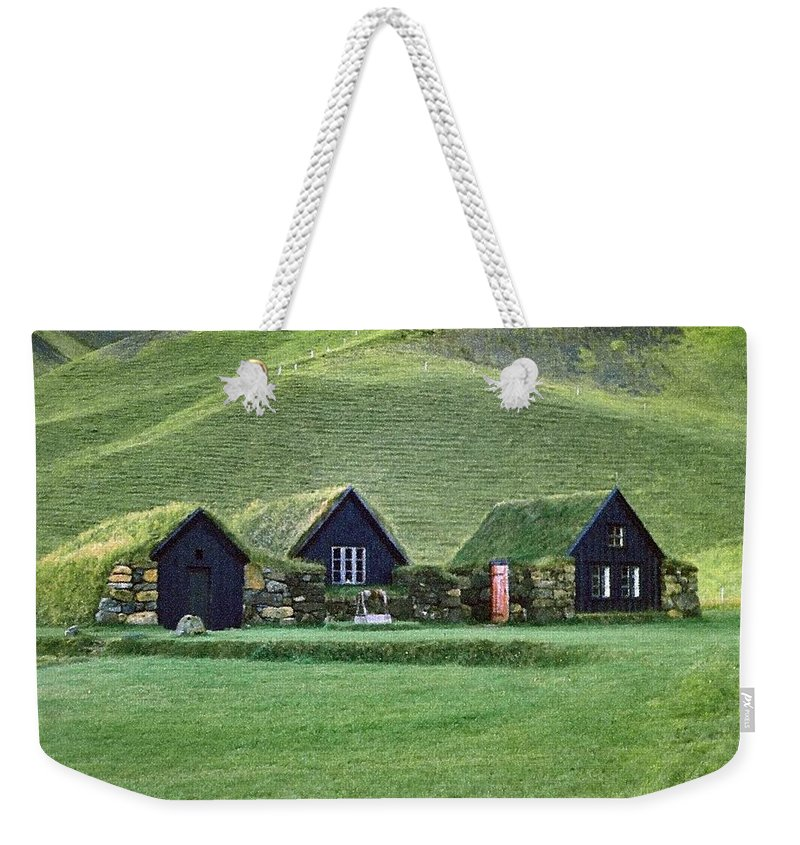 Iceland Weekender Tote Bag featuring the photograph Icelandic Turf Homes by Mario Carini