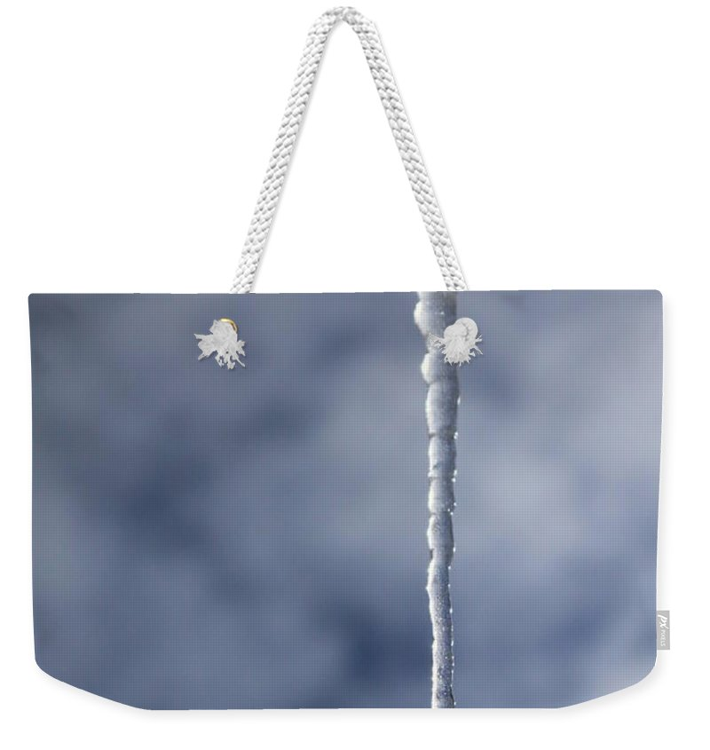 Icicle Weekender Tote Bag featuring the photograph Icicle And Water Drop by James Eddy