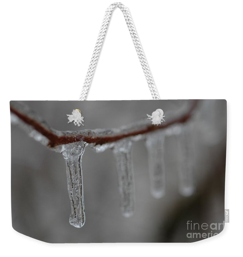 Ice Weekender Tote Bag featuring the photograph Icicle Focus by Kathy Carlson