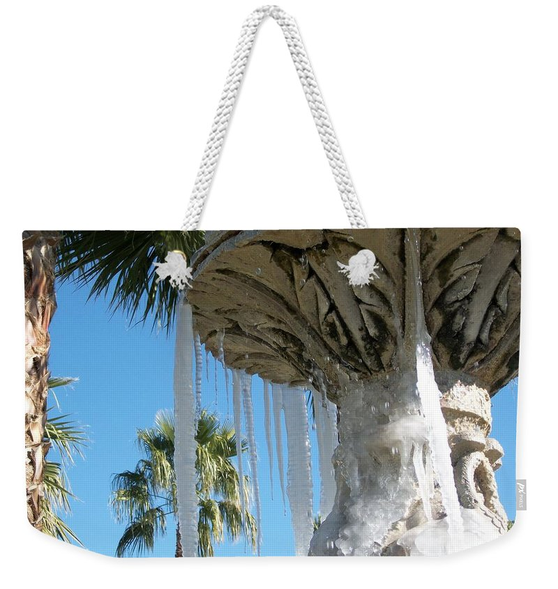 Color Photography By Heather J. Kirk And Photographic Artistry. Print On Photo Paper Weekender Tote Bag featuring the photograph Icicles In A Palm Filled Sky Number 1 by Heather Kirk