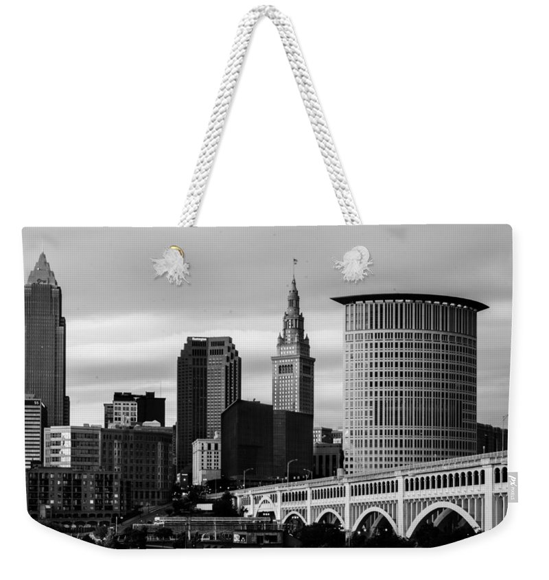 Cleveland Weekender Tote Bag featuring the photograph Iconic Cleveland by Stewart Helberg