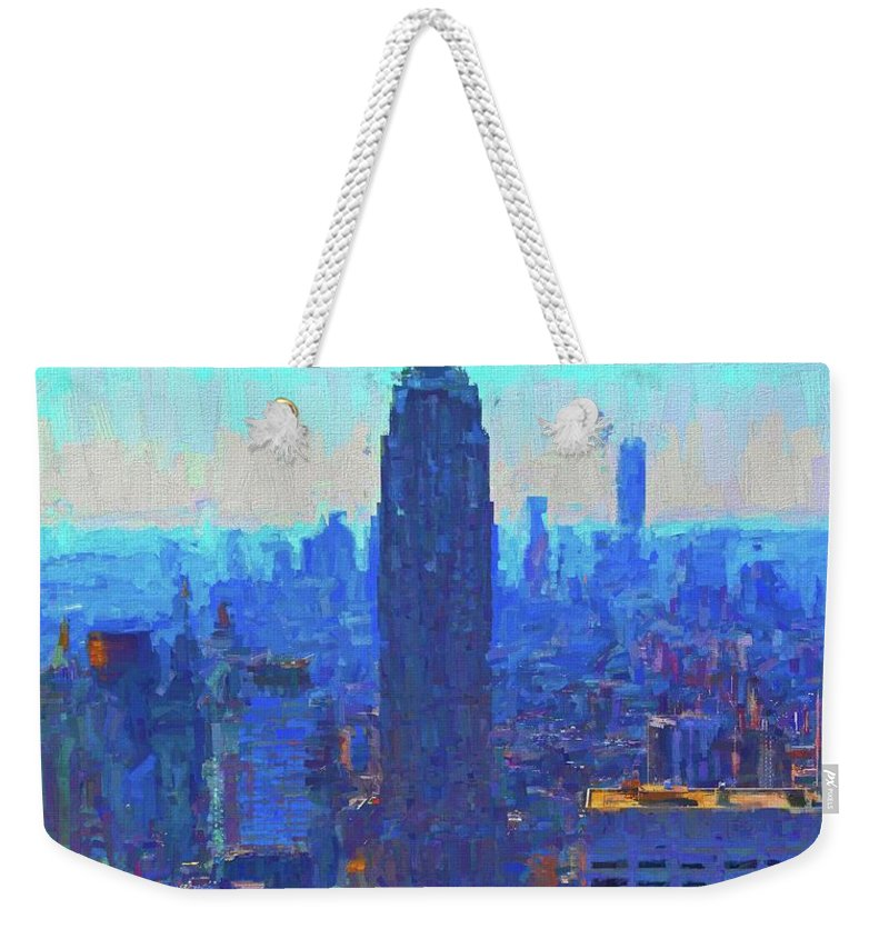 Iconic Empire State Building Weekender Tote Bag featuring the painting Iconic Empire State Building by Dan Sproul