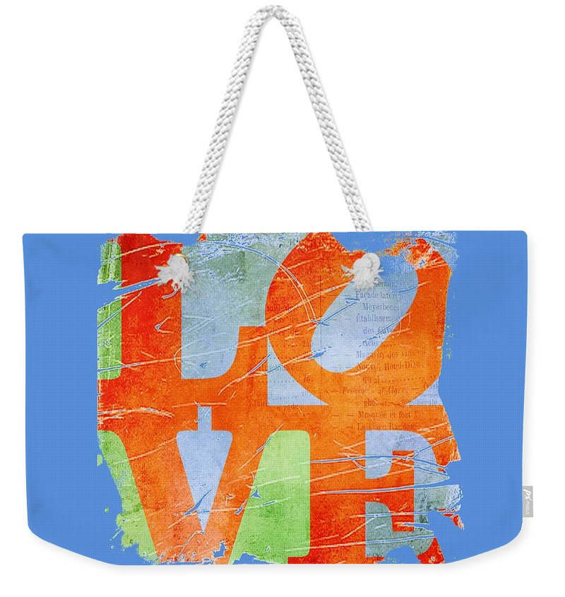 Wright Weekender Tote Bag featuring the digital art Iconic Love - Grunge by Paulette B Wright