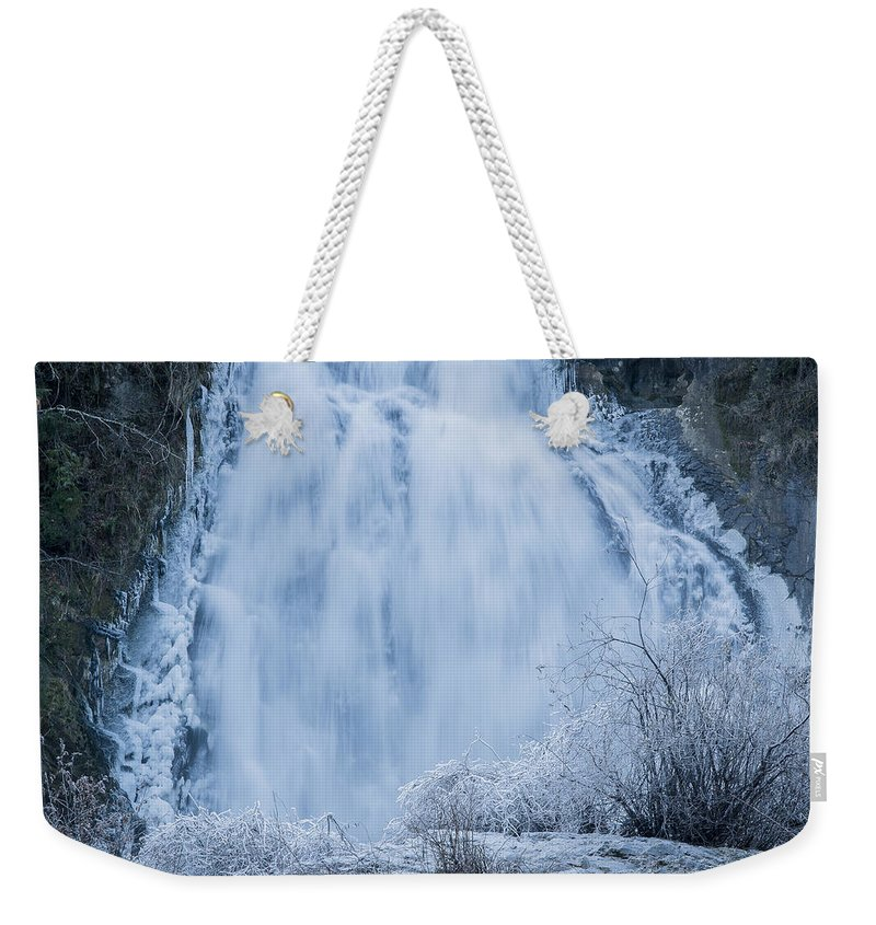 Astoria Riverfront Weekender Tote Bag featuring the photograph Icy Falls by Robert Potts