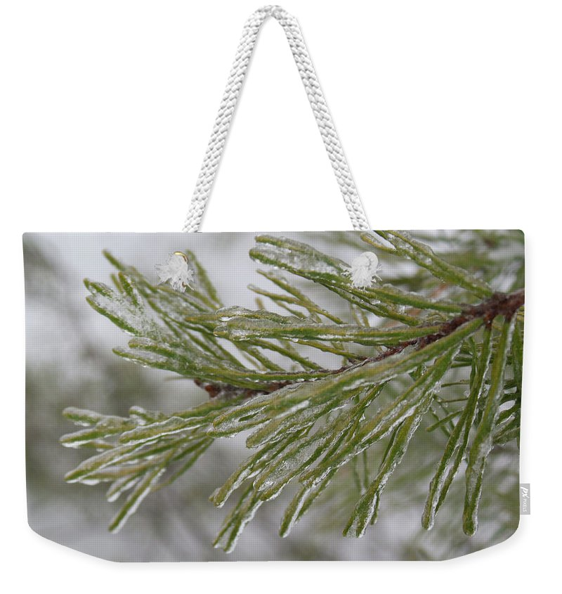 Icy Weekender Tote Bag featuring the photograph Icy Fingers Of The Pine by Douglas Barnett