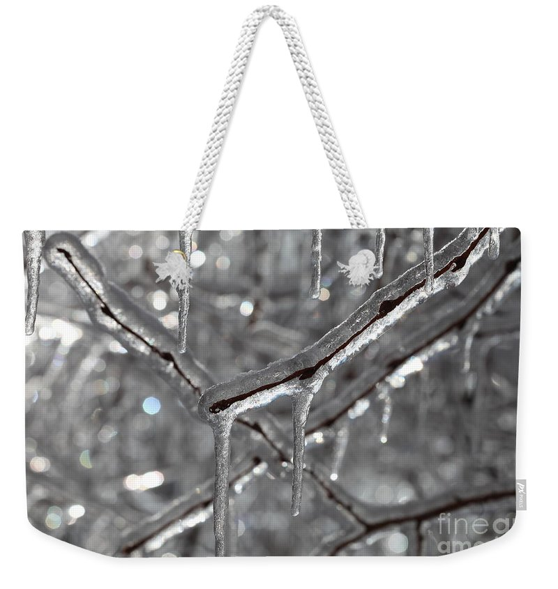 Ice Weekender Tote Bag featuring the photograph Icy Glitters by Nadine Rippelmeyer
