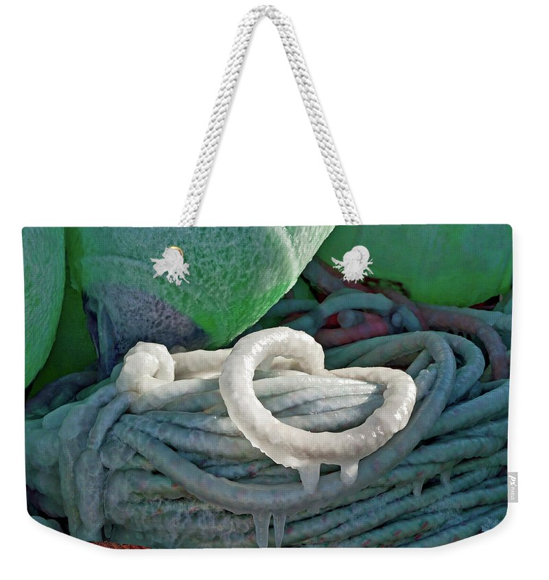 Icy Pots Weekender Tote Bag featuring the photograph Icy Lines by Cathy Mahnke