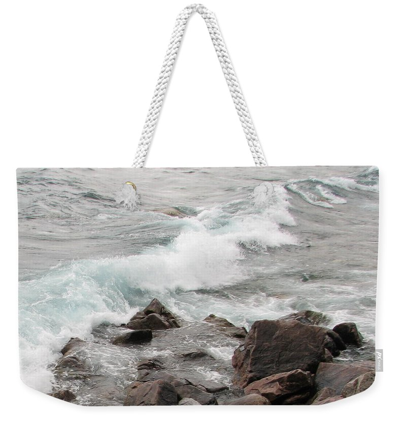 Wave Weekender Tote Bag featuring the photograph Icy Waves by Kelly Mezzapelle