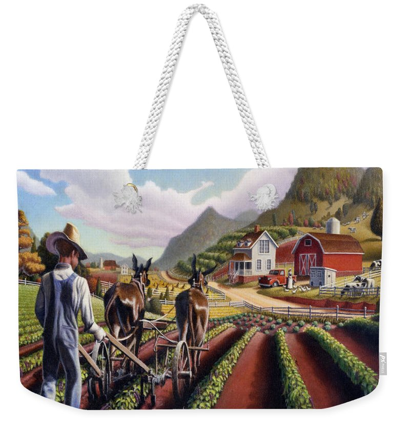 Id Rather Be Farming Weekender Tote Bag featuring the painting Id Rather Be Farming - Appalachian Farmer Cultivating Peas - Farm Landscape 2 by Walt Curlee