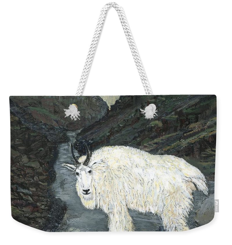 Idaho Weekender Tote Bag featuring the painting Idaho Mountain Goat by Sara Stevenson