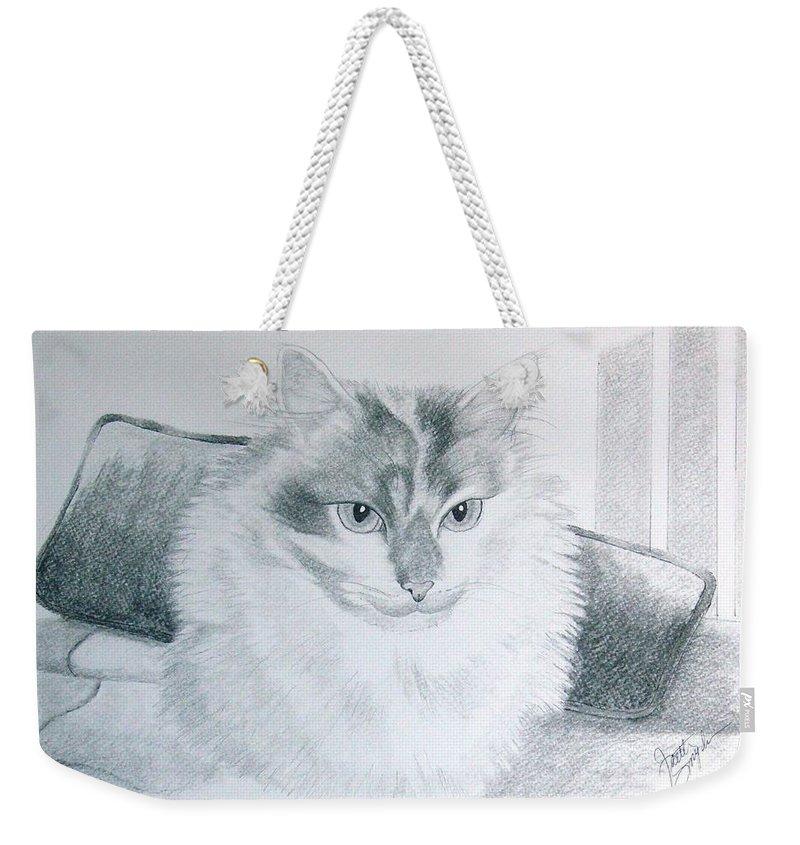 Cat Weekender Tote Bag featuring the drawing Idget by Joette Snyder