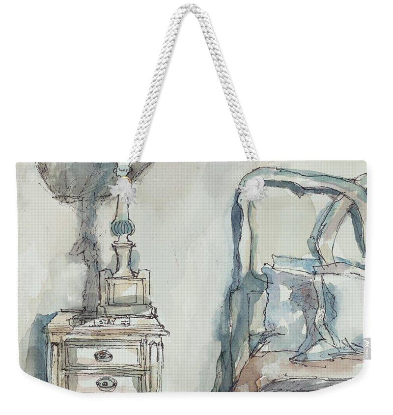 Bedroom Weekender Tote Bag featuring the painting Simply Feminine by Ava Obert