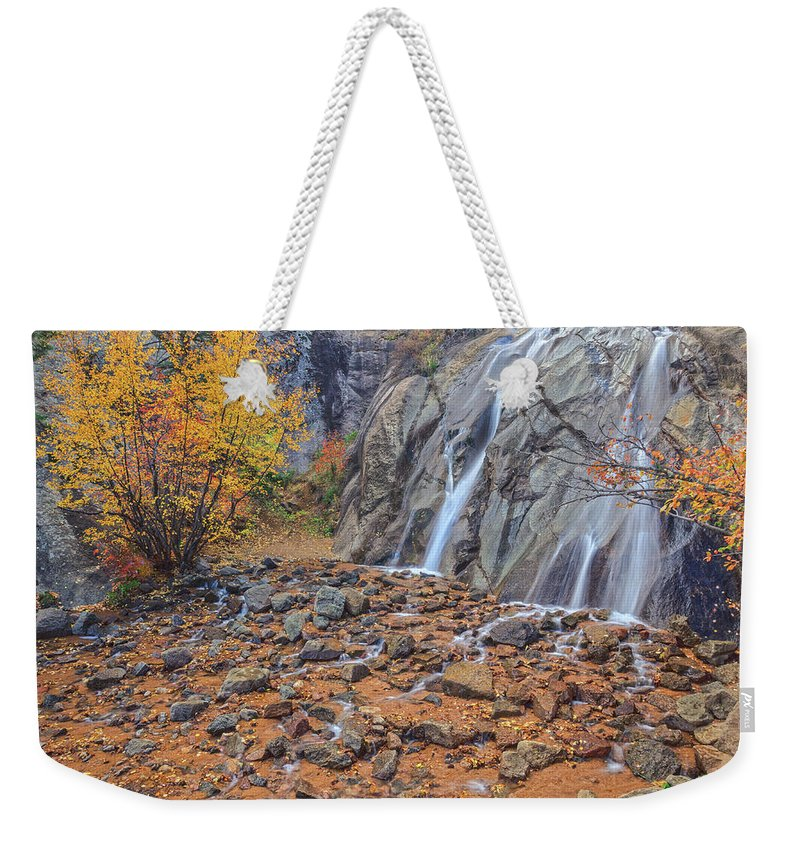 Helen Hunt Falls Weekender Tote Bag featuring the photograph If You Fill Your Head With Information, There Won't Be Room For Wisdom, Imagination And Inspiration. by Bijan Pirnia