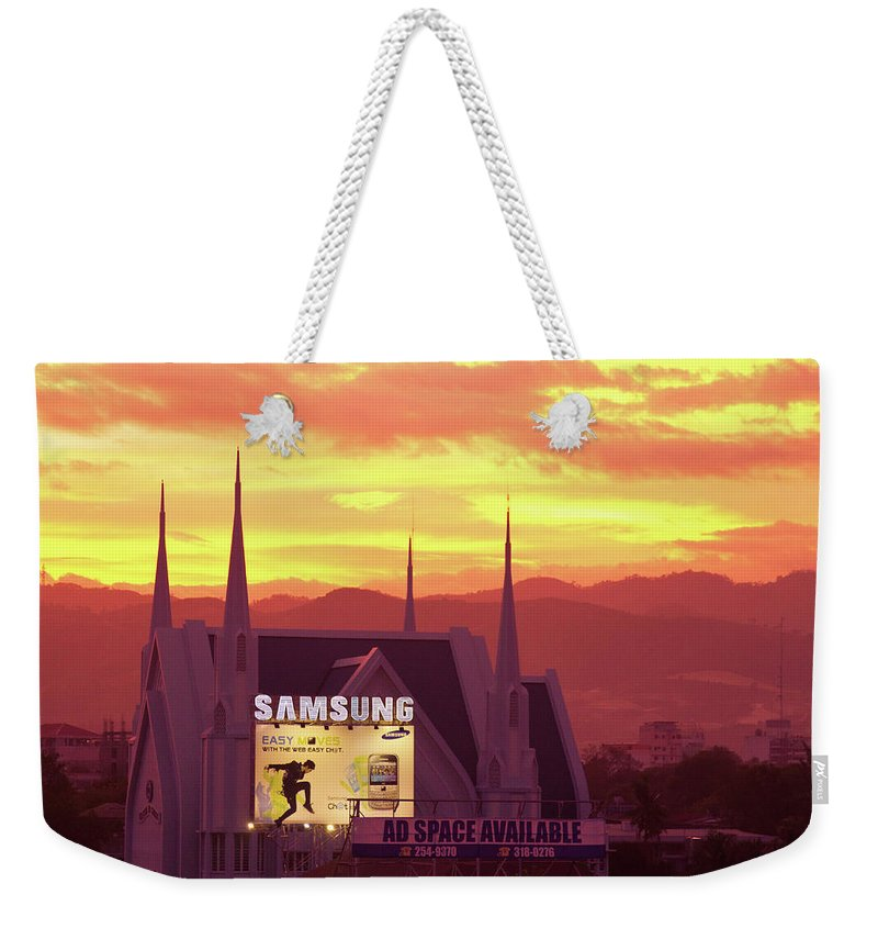 Insogna Weekender Tote Bag featuring the photograph Iglesia Ni Cristo Sunset Cebu City Philippines by James BO Insogna