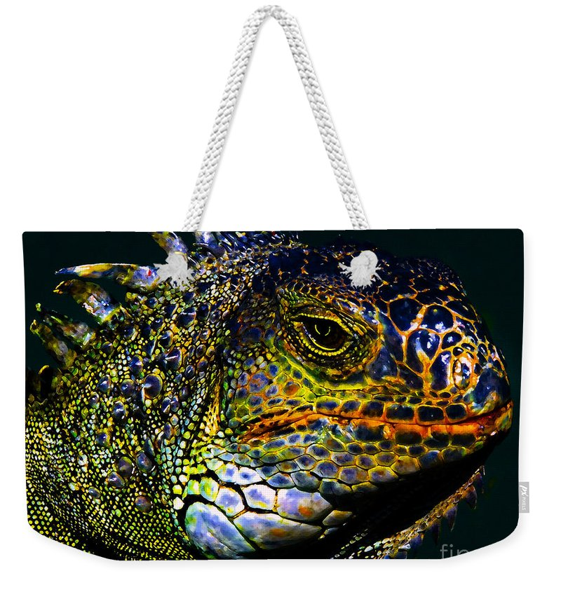 Art Weekender Tote Bag featuring the painting Iguana by David Lee Thompson